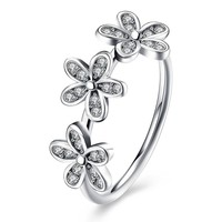 Sterling Silver Pandora Inspired Triple Flower Ring