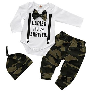 Newborn Baby Boy Clothes Lovely bowtie kids Cotton Bodysuit Tops Long Pants Hat