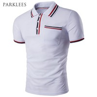 Striped Polo Shirt Men Summer New Short Sleeve Pocket Polo Homme Casual Slim Fit Mens Polo Shirt Breathable Cotton Camisa Polo