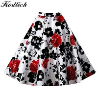 Kostlich 8 Style Flower Print Skirts Womens High Waist 50s Summer Vintage Skirt 2017 Elegant Retro Women Midi Skirt Plus Size