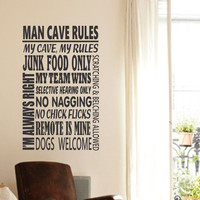 Man Cave Rules Decal | Vinyl Wall Lettering | Humorous Quotes