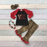baby girls V-day clothes girlsMommy's little Valentiens days outfits with leaporpant children boutique clothing with accessoreis