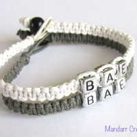 BAE Bracelets for Couples, Handmade White and Grey Hemp Jewelry, Before Anyone Else