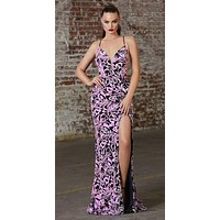 Floor Length Fitted Dress Rose Iridescent Sequin Print Velvet Finish