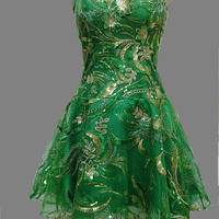 Green sequins lace prom dresses / short gowns for holiday party /cheap homecoming dress on sale /unique cocktail dresses /new year's dress