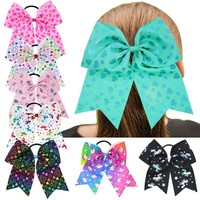 24 pcs/lot, Unicorn Print Big Ribbon Hair Bows, Valentines Day Hair Bows for Girls Hair Accessories