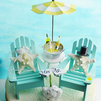 Wedding Cake Topper ~ Wine for Her Beer for Him ~ Miniature Adirondack Chairs ~ Starfish Bride/Groom ~ Choose Your Own Beach Extras ~ CUSTOM