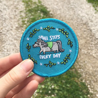 Small Steps - Sew on Iron on Patch - Positivity - Patches - Pony - Embroidered