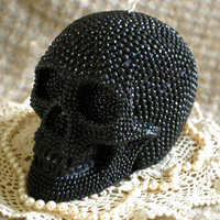 Beeswax Candle BIG Skull Shaped Candle in by PeaceBlossomCandles