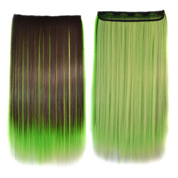 5 Cards Long Straight Hair Extension Wig    dark brown grass bright yellow bleach and dye