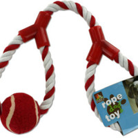 Dog Rope Toy with Tennis Ball - 6 Units