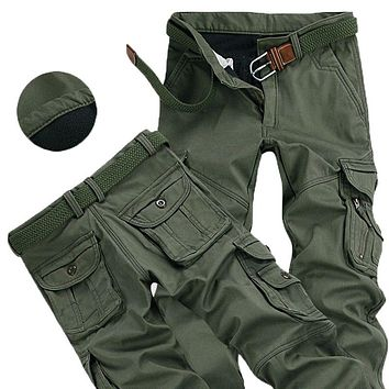 Mens Winter Pants Thick Warm Cargo Pants Plus Size 38 40
