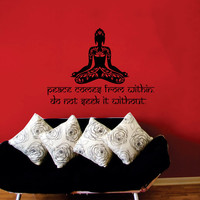 Peace comes from within Buddha Quote Wall Decal Vinyl Sticker Wall Decor Home Interior Design Art KV25