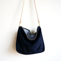 Navy Suede Hobo