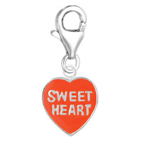 Sterling Silver & Enamel clip-on reversible heart charm