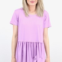 Suedette Peplum Short Sleeve Top {Lavender} EXTENDED SIZES