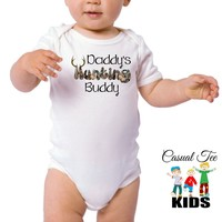 Daddy's Hunting Buddy Baby Bodysuit or Toddler Tshirt, Baby Boy clothes, Baby Girl Clothes, Gender Neutral, Hunting Baby