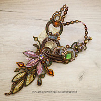 Autumn soutache necklace. Gift for her.
