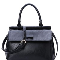 Cover Black PU Leather Tote Bag