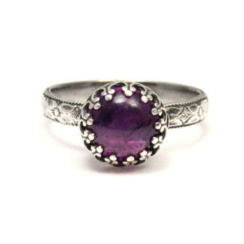 Amethyst Ring - Sterling Silver ring - February Birthstone - purple gemstone ring - handmade handcrafted artisan ring - floral band