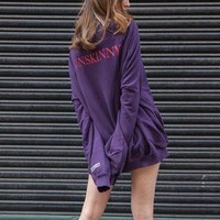 Chenire VETEMENTS Fashion Solid Pagoda Sleeve Loose Top Sweater Pullover