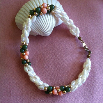 Pearl Coral Green Bracelet Vintage Spring Jewelry White Freshwater Pearl Coral and Green Jade Beaded Bracelet Handmade Vintage Bracelet