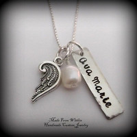 Memorial/ Remembrance Necklace- Name Tag with Angel Wing and Birthstone- Remembrance Jewelry- Memorial Jewelry