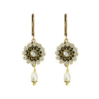 Michal Golan Art Deco Collection Small Round Drop Earrings with Pearl Dangle