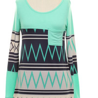 Mint Chevron and Diamonds Plus Size Top (XL-3XL)