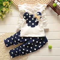 Kids Clothes Girl Baby Long Rabbit Sleeve Cotton Minnie Casual Suits Baby Children