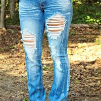 Boot Cut Light Blue Distressed Jeans