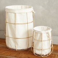 Framed Canvas Bins by Anthropologie in White Size: Set Of 2 Office