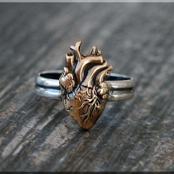 Anatomical Heart Ring, Sterling Silver Bronze Heart Ring, Anatomical Heart Jewelry, Stacking Jewelry, Stacking Ring, Medical Jewelry