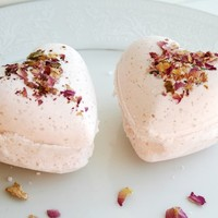 Rose Scented Heart Bath Bombs - Large - Set of 2
