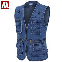 Male Denim Vests Men Vest Mens Outdoors Cotton Multi Pocket Sleevless Jean Jacket Men Jeans