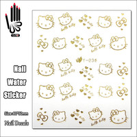 1 Sheet Nail Y036 Gold Hello Kitty Nail Art Water Transfer Sticker Decal Sticker For Nail Art Decoration