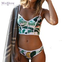 MisShow Brazilian Print Bikinis Set Women Straps Swimsuit Bohemian  Leaf Swimwear Female Zipper Up Top Bathing Suits Maillot De Bain