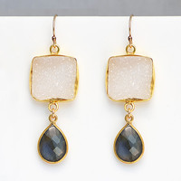 Cushion White Druzy Garnet Vermeil Gold bezel set Earrings - Available in Gold or Silver in a variety of gemstones, natural druzy jewelry