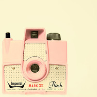 Vintage camera photo pink camera pastel neutrals modern by bomobob