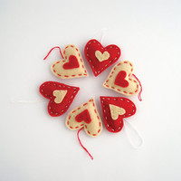 Hearts in red felt, valentines day decor, gift tags, party favors, felt heart ornament