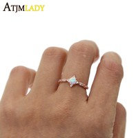New 100% 925 Sterling Silver size 7 8 european top quality Star CZ OPAL stone Rose gold color stunning women Jewelry finger ring