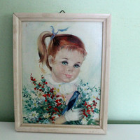 Vintage Painting Little Girl With Bird and Flowers Picture, Painted Child Portrait, Artwork,  Romantic Painting, Child Portrait