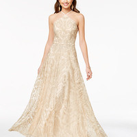 Speechless Shimmery Strappy-Back Halter Gown, a Macy's Exclusive Style - Juniors Prom Dresses - Macy's