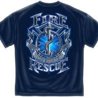 NEW BLUE T-SHIRT FIRE RESCUE SMALL