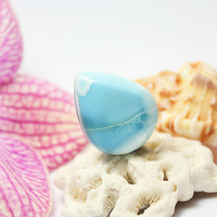 Unique Larimar Teardrop Cab Azure Sky Cabochon pear pectolite tropical turquoise blue beach tear drop stone 5g 14ct OOAK abstract