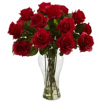 Artificial Flowers -Red Blooming Roses With Vase Silk Flowers