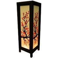 Thai Wood Lamp Handmade Oriental Classic Japanese Red Sakura Cherry Blossom Tree Branch Bedside Table Lights or Floor Home Decor Bedroom Decoration Modern Design