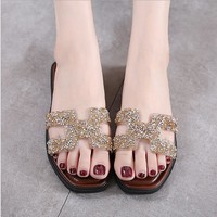 Perfect Fashion Women Diamond H Sandal Slipper flat Shoes