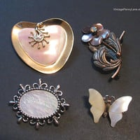Vintage Mother of Pearl Shell Brooch Lot, Vintage Pins, Destash Costume Jewelry, Mixed Brooches