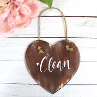 Clean or Dirty Dishwasher Magnet with Calligraphy - Rustic Home Decor